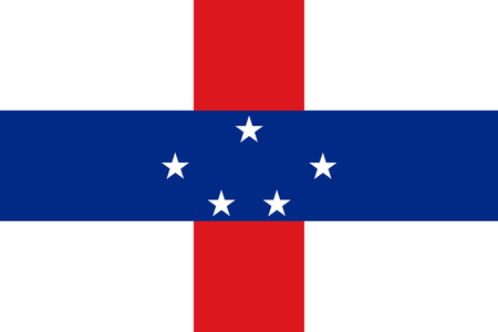 Netherlands Antilles flag with five white, five-pointed stars that  are arranged in a pattern in the center