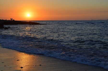 Sunset on Kato Gouves beach in Crete on the Mediterranean sea