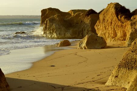Sietskes Beach rock formation on the Algage coast in Portugal