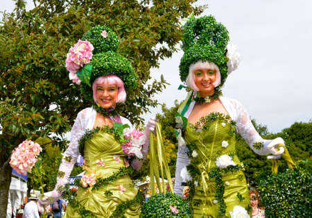 Southport, Lancashire, England, UK - August 18, 2018 : Two ladies in flower costumes at the Southport Flower Show Editorial