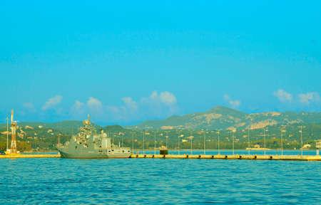 EU Naval Force flagship, FS Siroco in Corfu harbour Banco de Imagens