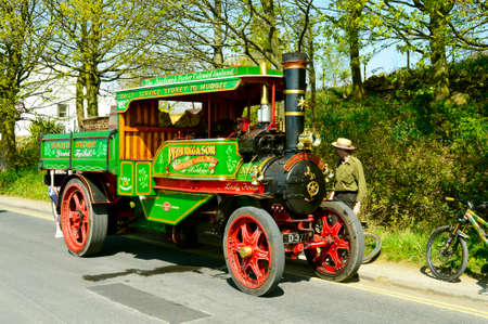 Hollingworth Lake, Littleborough, Rochdale, Greater Manchester; England; UK, Europe  - April 21, 2019 : Aveling & Porter steam engine truck on display in Hollingworth Lake Country Park Editorial