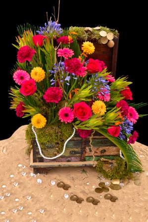 Treasure chest flower arrangement at the Southport Flower Show