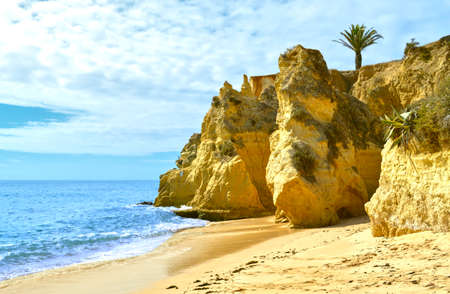 Rock formation in Vale Do Olival on the Algarve coast in Portugal