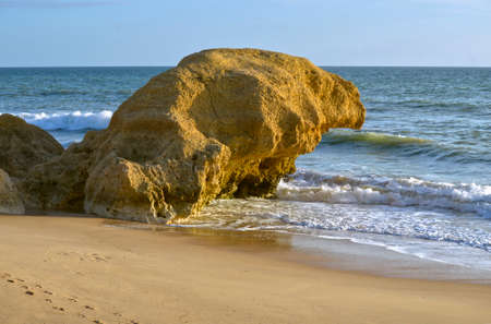 Sietskes Beach rock formation on the Algarve coast in Portugal
