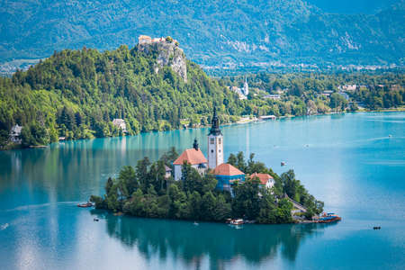 Lake Bled in Slovenia with an island with a church in the centre