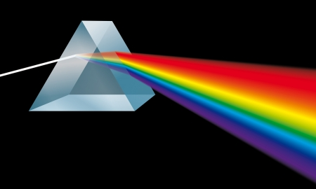 triangular prism breaks light into spectral colors 版權商用圖片