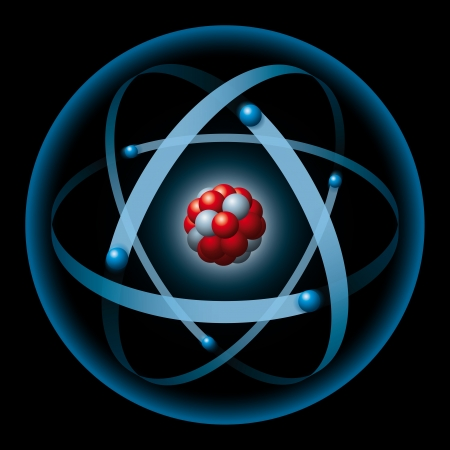 electrons: atom having nucleus and electrons