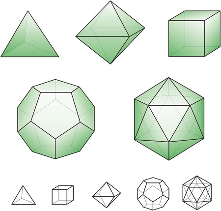 Platonic solids with green surfaces