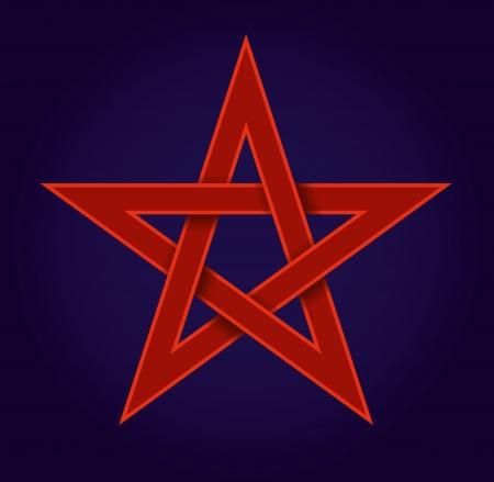 red pentagram on blue background Stock Vector - 20609694