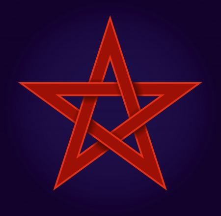 pentagram: red pentagram on blue background Illustration