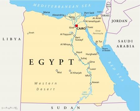 Mapa de Egipto Ilustración de vector