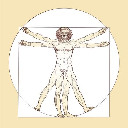 Man van Vitruvius - Leonardo da Vinci Stock Illustratie