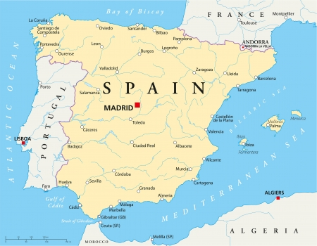 barcelona spain: Spain Map Illustration