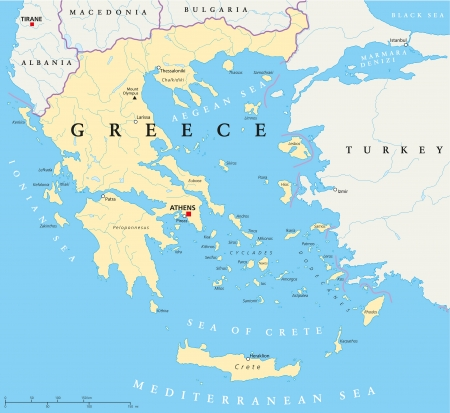 santorini greece: Greece Political Map Illustration