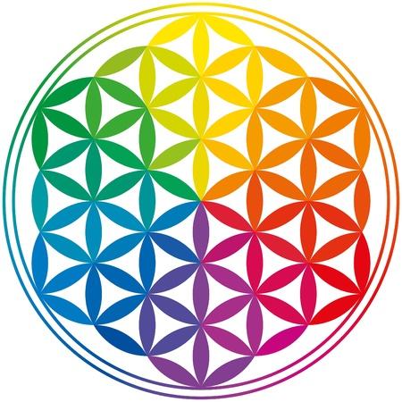 Blume des Lebens Regenbogen-Farben Vektorgrafik