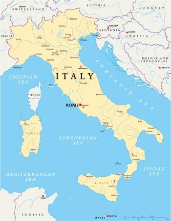 florence italy: Italia Political Map