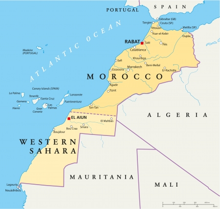 spain map: Marocco e Sahara Occidentale Political Map