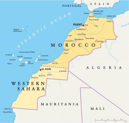 Maroko i Sahara Zachodnia Mapa polityczna Ilustracje wektorowe