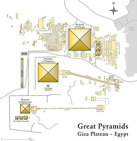 Egypt Pyramids of Giza Map Vector