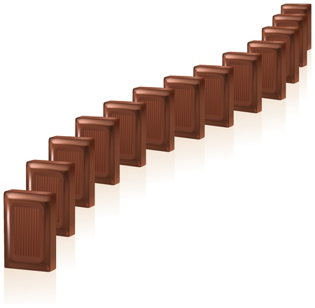chain reaction: Delicious chocolate domino pieces lined up in a row