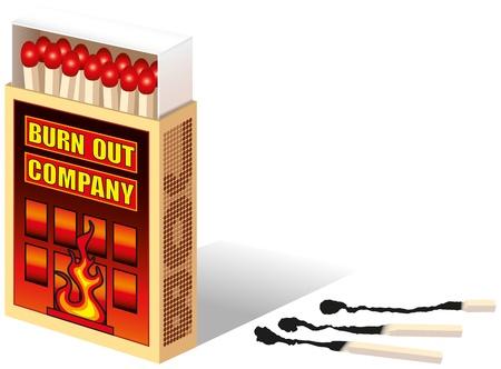 caja de cerillas: Matchbox, con el texto marcado Burnout Company Cerrar lado son f�sforos quemados vector aislados sobre fondo blanco