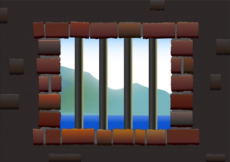 Barred window of a jail, viewed from inside to outside  Isolated vector