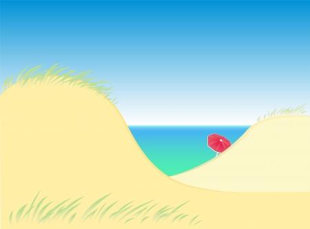 elvonult: Homokdűnék a tenger egy magányos piros napernyő Isolated vector Illusztráció