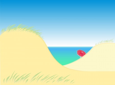 secluded: Sand dunes by the sea with a lone red parasol  Isolated vector