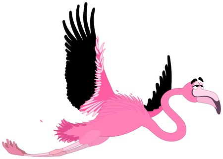 easygoing: A smiling cartoon flamingo flies calmly through the air  Isolated vector on white background  Illustration