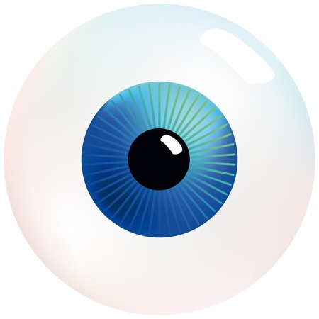 contact lens: Eyeball with blue and turquoise colored iris, that stares at you  Isolated vector on white background  Illustration