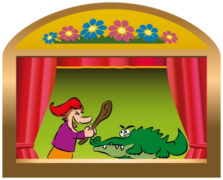work popular: Punch and Judy, a traditional, popular puppet show  Isolated vector on white background