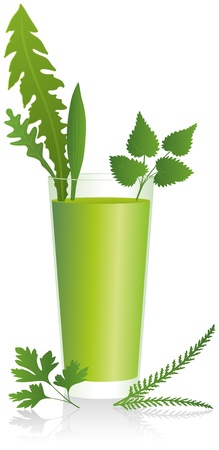 alternatively: Green Smoothie - Healthy drink with herbs of the meadow in a glass  Isolated vector on white background