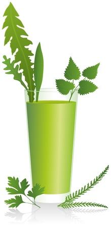 alternatively: Verde Smoothie - bere sano con le erbe del prato in un isolato vettore di vetro su sfondo bianco