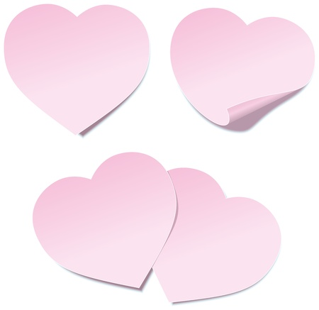 Heart Self Stick Notes - Illustration of self stick notes in heart shape  Isolated vector on white background