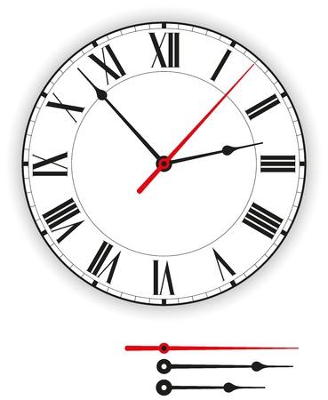 office clock: Reloj antiguo de la cara Vectores
