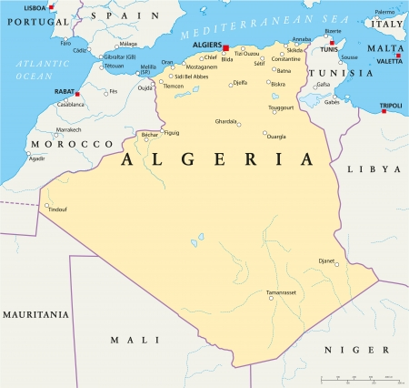 berber: Algeria Political Map Illustration