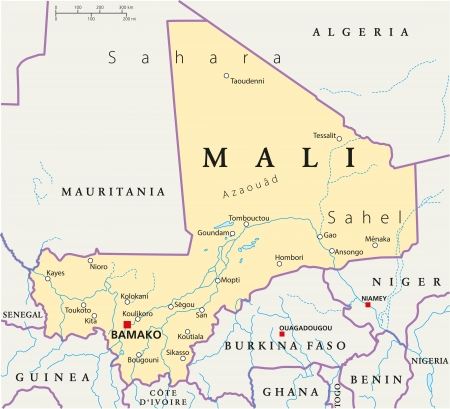 mauritania: Mali Political Map Illustration