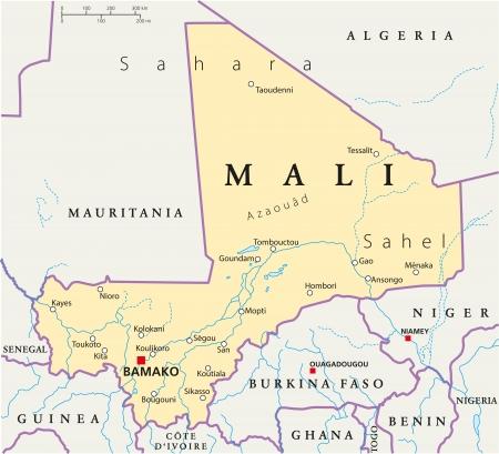 Mali Politieke Kaart Stock Illustratie