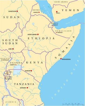 Oost-Afrika Politieke Kaart Vector Illustratie