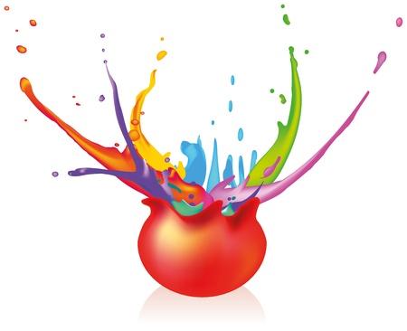 깜짝: 페인트 볼 - 폭발 공을 흰색 배경에 페인트 격리 된 벡터와 주변에 튀는
