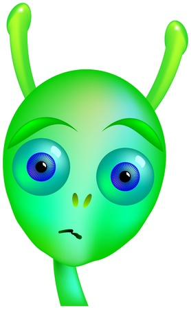 alien face: Gloomy Alien - Young, insecure, sad teenage alien  Isolated vector on white background