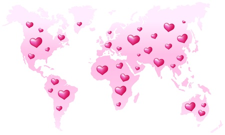 Global Peace - Pink world map, which is dotted with hearts  Isolated vector on white background