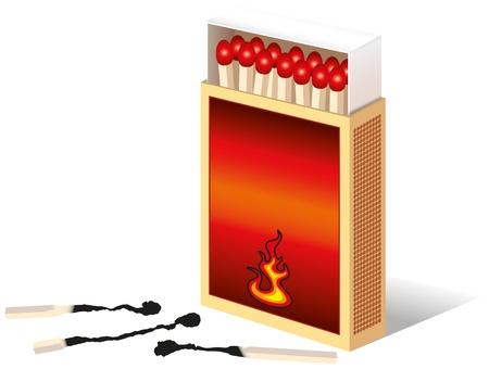 caja de cerillas: Abrir caja de cerillas, tres f�sforos quemados La parte frontal de la caja pueden ser etiquetados individualmente por usted vectorial aislado sobre fondo blanco Vectores