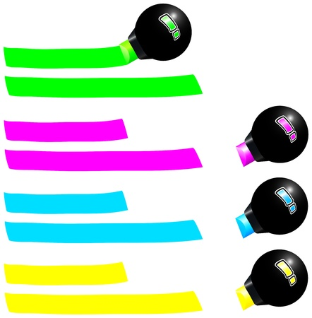 noticeable: Four fluorescent markers draw a colored trail  Green, pink, blue and yellow  Isolated vector on white background