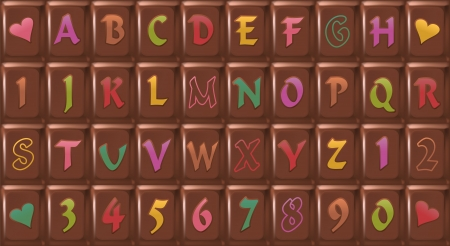 stimulant: Chocolate-Font   Chocolate bar with letters consisting of 40 single pieces that can be arranged individually, a very sweet typeface  Isolated vector