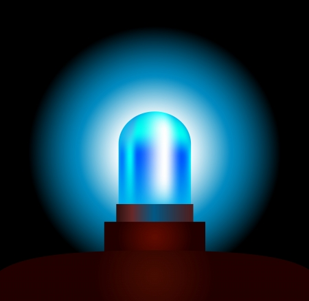 emergency vehicle: Blue Light - garishly brillante luce blu di un veicolo di emergenza isolato vettoriale su sfondo nero Vettoriali