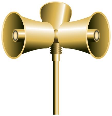 Trois haut-parleur ou sirènes sur un poteau vecteur isolé sur fond blanc