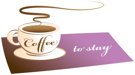 Coffee to stay  Coffee cup on a purple mat, labeled  coffee to stay  instead of  coffee to go   Isolated vector on white background