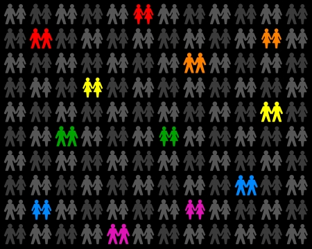 Homosexual Couples - Icons of multicolored couples, that stand out from the gray crowd  Isolated vector on black background Stock Vector - 21570616